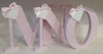 Pink Freestanding letters M N O