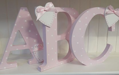 Freestanding Wooden Letters in Pink
