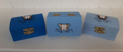 Tooth Fairy boxes in Blue, Mid blue and light blue